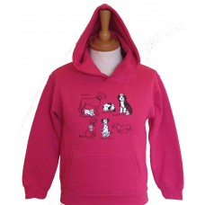 All kinds of Dogs childrens Hoodie fuchsia