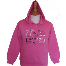 All Kinds of Horses children's Hoodie pink