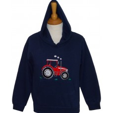 Big Red Tractor applique Hoodie navy
