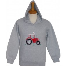 Big Red Tractor applique Hoodie grey