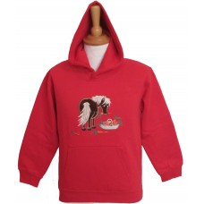 Carrot Pony applique Hoodie in Red