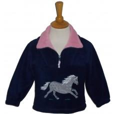 Dapple pony childrens fleece jacket, navy with pink collar