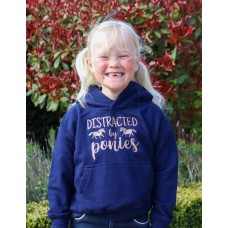"""""""Distracted by Ponies"""" childrens Glitter hoodie Navy"""