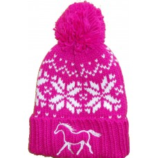 Fairisle  childrens pompom hat