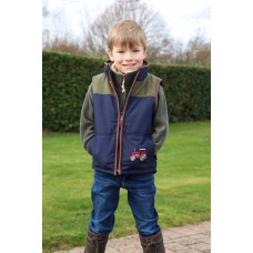 Tractors childrens  Gilet with tweed yoke and trim