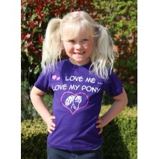 """Love me Love my Pony"" childrens tee shirt in Purple"
