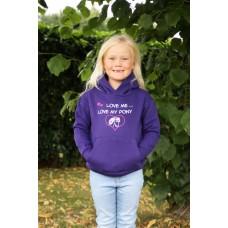 """Love me Love my Pony"" childrens hoodie  Purple"