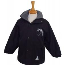 Silver childrens waterproof Jacket black