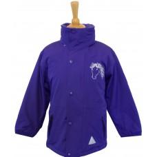 Silver childrens waterproof jacket - purple