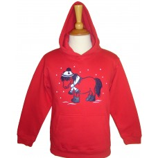 Christmas Snow Pony Hoodie Red